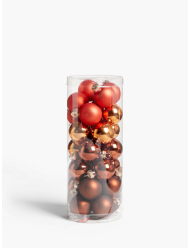 John Lewis & Partners Campfire Assorted Mini Baubles, Tub Of 28, Bronze by John Lewis & Partners