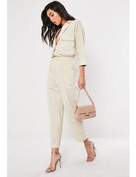 Tall Stone Linen Look Turn Up Co Ord Cigarette Trousers by Missguided