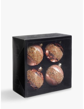 John Lewis & Partners Sanctuary Decorated Baubles, Box Of 4, Blush by John Lewis & Partners