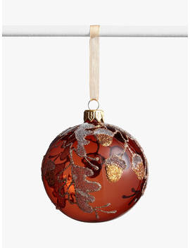 John Lewis & Partners Campfire Glitter Acorn Bauble, Copper by John Lewis & Partners