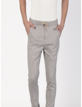 Men Grey Regular Fit Solid Cotton Linen Joggers by Ether
