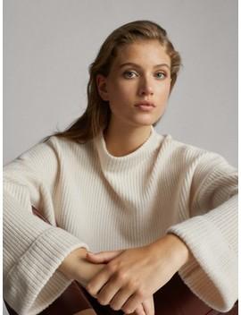 Sweter O Ściegu PereŁkowym Z WeŁny I Kaszmiru by Massimo Dutti