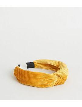 Mustard Ribbed Velvet Knot Headband by New Look