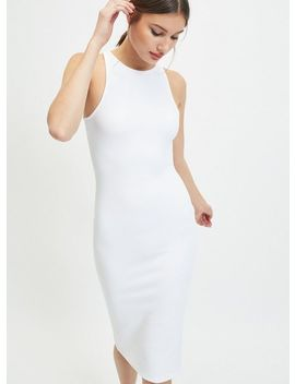 White Rib Bodycon Midi Dress by Miss Selfridge