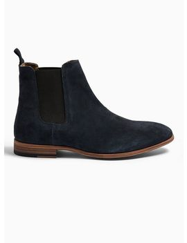 Navy Real Suede Fenn Chelsea Boots by Topman