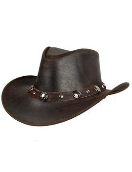 Leather Cowboy Brown Hat With Conchos Leather Band by Etsy