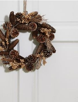 13inch Golden Pinecone Wreath by Marks & Spencer