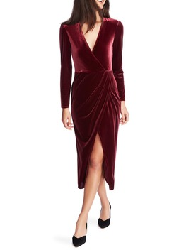 Wrap Front Ruched Long Sleeve Velvet Dress by 1.State