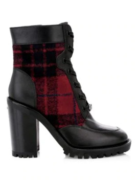 Hedy Plaid & Leather Combat Boots by Coach