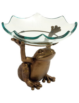 Home Decor Scallop Glass Bowl On Top Of Standing Frog Design by Home Roots