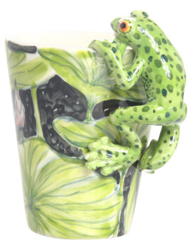 Frog 3 D Ceramic Mug, Green Dots by Blue Witch Ceramics Inc.