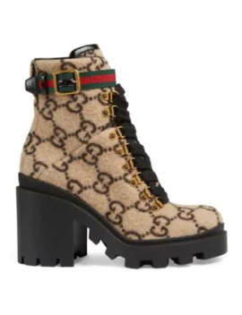 Trip Gg Wool Combat Boots by Gucci