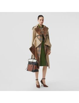 Deconstructed Cotton And Shearling Trench Coat by Burberry