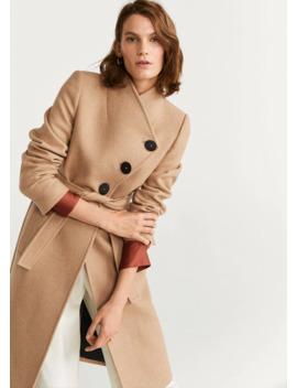 Παλτό μάλλινο ζώνη by Mango