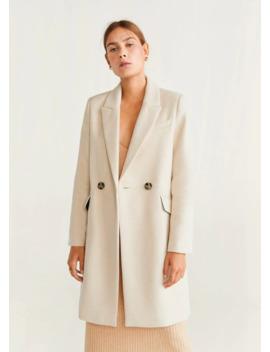 Ολόμαλλο παλτό με γιακά by Mango