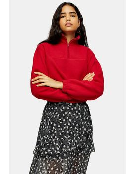 Red Funnel Neck Fleece by Topshop