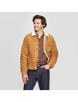 Men's Sherpa Lined Corduroy Trucker Jacket   Goodfellow & Co™ Tan by Goodfellow & Co