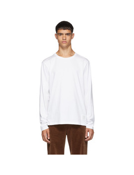 White Side Slit Relaxed Fit Long Sleeve T Shirt by Thom Browne