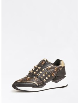 Tinsel Logo Sneaker With Studs by Guess