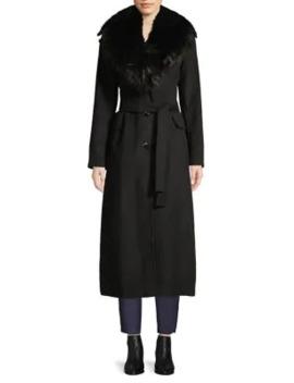 Faux Fur Collar Wool Blend Coat by Calvin Klein