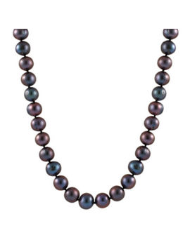 Splendid Pearls Womens 7 Mm Black Cultured Freshwater Pearl 14 K Gold Strand Necklace by Fine Jewelry