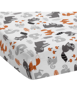Bedtime Originals Acorn Fitted Crib Sheet   Gray, Animals, Woodland, Forest by Bedtime Originals