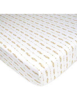 American Baby Company Printed 100% Cotton Jersey Knit Fitted Crib Sheet For Standard Crib And Toddler Mattresses, Taupe Feathers, For Boys And Girls by American Baby Company