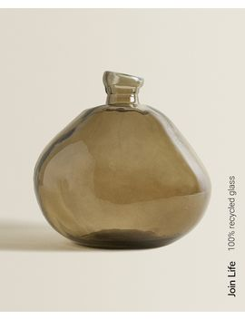 Brown 100 Percents Recycled Glass Bottle With Raw Shape  Decor Accessories   Decoration   Living Room by Zara Home