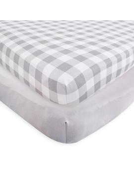 Touched By Nature Baby Boy And Girl Organic Cotton Fitted Crib Sheet, 2 Pack   Plaid/Solid Gray by Touched By Nature