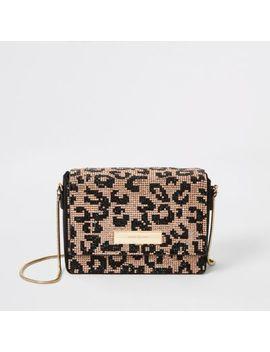 Black Leopard Diamante Mini Cross Body Bag by River Island