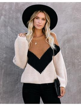 Preorder   Prospect Park Chevron Knit Sweater   Camel/Black by Vici