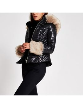 Black Faux Fur Cuff High Shine Padded Coat by River Island
