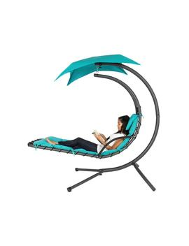 Best Choice Products Hanging Curved Chaise Lounge Chair Swing For Backyard, Patio W/ Pillow, Canopy, Stand   Teal by Best Choice Products