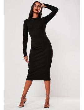 Tall Black Ribbed Long Sleeve Midi Dress by Missguided