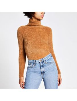 Brown Roll Neck Fluffy Cropped Jumper by River Island