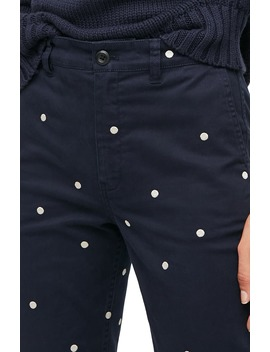 Vintage Polka Dot Straight Stretch Chino Pants by J.Crew