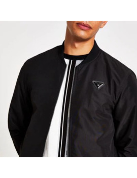 Black Mcmlx Bomber Jacket by River Island