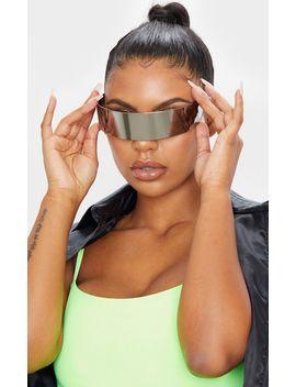 Silver Revo Shield Visor Sunglasses  by Prettylittlething