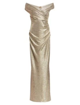 Off The Shoulder Metallic Gown by Talbot Runhof