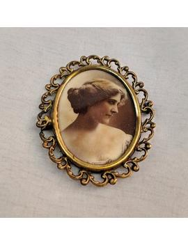 Antique Photo Brooch 'gibson Girl' | Stunning Photo Of A Woman | Victorian, Edwardian Era Jewelry by Etsy