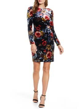 Floral Long Sleeve Stretch Velvet Dress by Vince Camuto