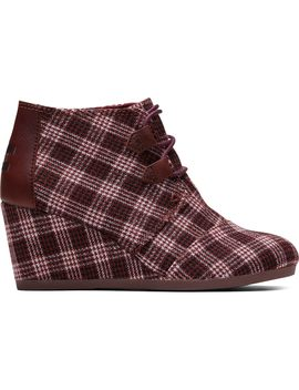 Burgundy Vintage Check Women's Kala Booties by Toms