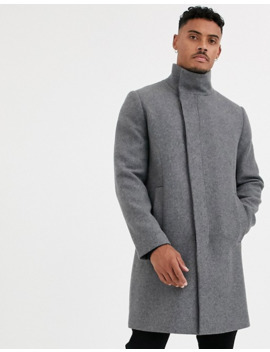 Asos Design Funnel Neck Wool Mix Jacket In Gray by Asos Design