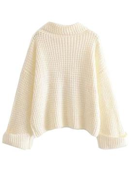 'retta' White Ribbed Cropped Turtleneck Sweater by Goodnight Macaroon