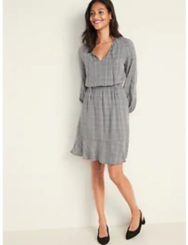 Plaid Waist Defined Tie Neck Dress For Women by Old Navy