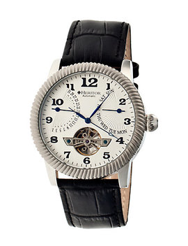 Heritor Automatic Men's Piccard Semi Skeleton Leather Watch by Heritor Automatic