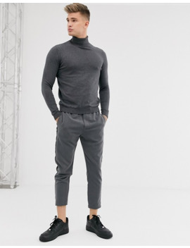 Asos Design Cotton Roll Neck Sweater In Black / Charcoal 2 Pack Save by Asos Design