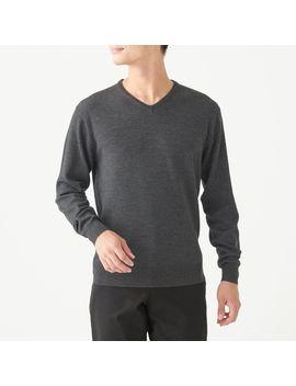 Merino Wool High Gauge V Neck Sweater by Muji