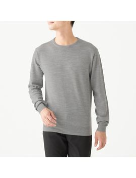Merino Wool High Gauge Crew Neck Sweater by Muji