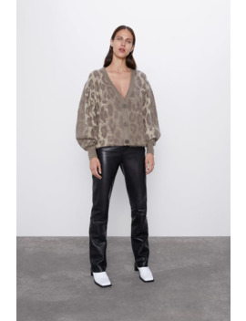 Animal Print Jacquard Cardigan by Zara